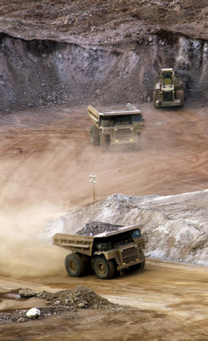 A truck hauls ore from Florida Canyon and Standard Mining, an open pit gold mine at Imlay, Nev., on Dec. 19, 2007 The mine, located near Winnemucca, employs 115 people. (Jeff Scheid/Las Vegas Revi ...
