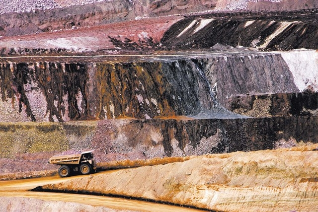 A truck loaded with ore at the  Florida Canyon and Standard Mining at Imlay, Nev., on Dec. 19, 2007 The open pit gold mine, located near Winnemucca, employs 115 people. (Jeff Scheid/Las Vegas Revi ...