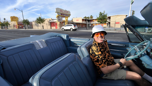 Jared Anderson as Hunter S. Thompson, rides up in his 1966 Cadillac during the 5th annual Halloween parade along East Fremont Street in Las Vegas on Friday, Oct. 31, 2014. (David Becker/Las Vegas  ...