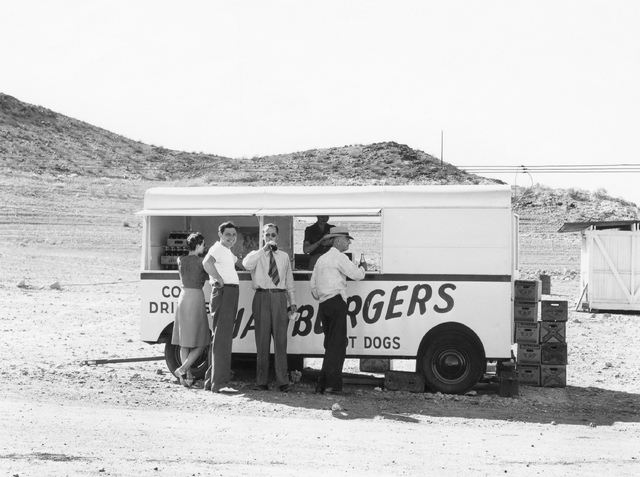 Hamburger stand at boat dock, date unknown. Virtual Museum Historic Image,  photo by J. M. Good