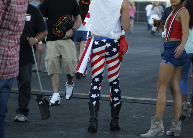 A fan displays his patriotism at the Route 91 Harvest country music festival at the MGM Resorts Village in Las Vegas on Sunday, October 5, 2014. (Justin Yurkanin/Las Vegas Review-Journal)