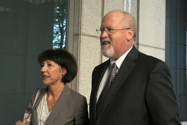 Harvey Whittemore and his wife, Annette, arrive at federal court in Reno for the start of his trial, Tuesday May 14, 2013. (Marilyn Newton/The Gazette-Journal)