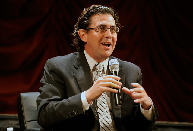 Jeremy Aguero, principal analyst with Applied Analysis speaks during the monthly Hashtags & Headlines luncheon at the Texas Station on Monday, May 19, 2014. (David Becker/Las Vegas Review-Journal)