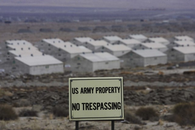 Warehouses and bunkers of the Hawthorne Army Depot cover the landscape around Hawthorne, Nev. on Dec. 19, 2007. The  Army Depot covers 147,000 acres around the community. (Jeff Scheid/Las Vegas Re ...
