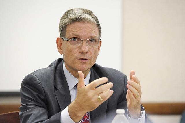 U.S. Rep. Joe Heck, R-Nev., speaks to the Las Vegas Review-Journal editorial board on Wednesday, Aug.13, 2014. (Mark Damon/Las Vegas Review-Journal)