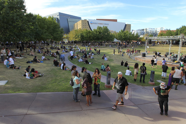 People gather in the amphitheater to listen to music during the first annual Hemp Fest Saturday, Oct. 4, 2014 at the Clark County Government Center. (Sam Morris/Las Vegas Review-Journal)