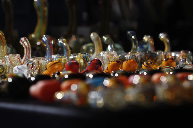 Glass pipes are seen for sale during the first annual Hemp Fest Saturday, Oct. 4, 2014 at the Clark County Government Center. (Sam Morris/Las Vegas Review-Journal)
