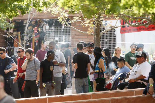 A smoking area, for tobacco products only, is seen during the first annual Hemp Fest Saturday, Oct. 4, 2014 at the Clark County Government Center. (Sam Morris/Las Vegas Review-Journal)