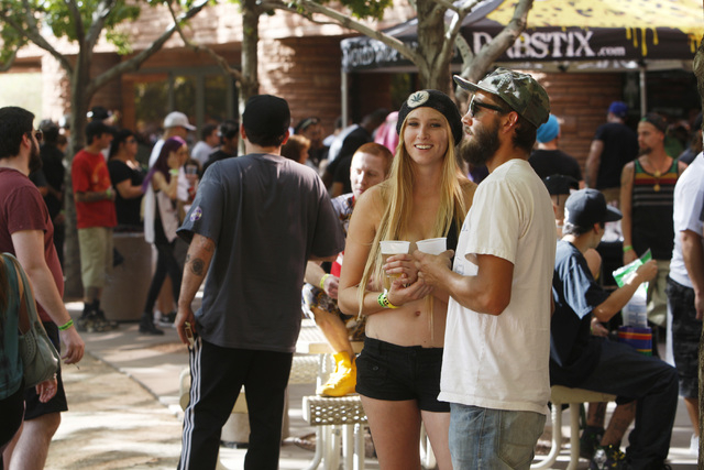 Attendees browse vendor booths during the first annual Hemp Fest Saturday, Oct. 4, 2014 at the Clark County Government Center. (Sam Morris/Las Vegas Review-Journal)