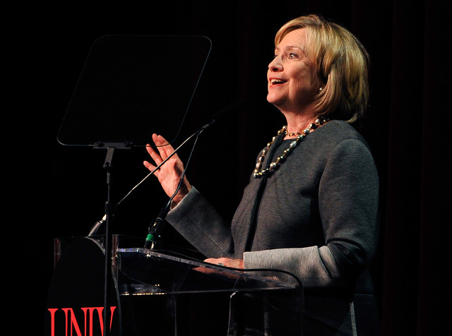 Former Secretary of State Hillary Clinton speaks during the 2014 UNLV Foundation Annual Dinner at the Bellagio hotel-casino on Monday, Oct. 13, 2014. (David Becker/Las Vegas Review-Journal)