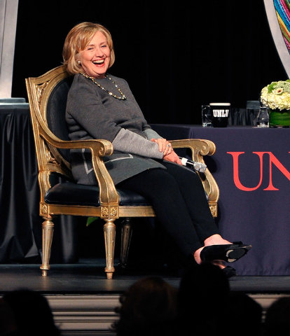 Former Secretary of State Hillary Clinton laughs during the 2014 UNLV Foundation Annual Dinner at the Bellagio hotel-casino on Monday, Oct. 13, 2014. (David Becker/Las Vegas Review-Journal)