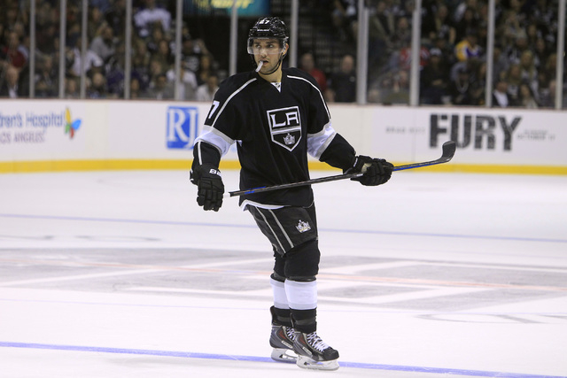 Los Angeles Kings defenseman Alec Martinez skates towards the bench during their pre-season game against the Colorado Avalanche Saturday, Oct. 4, 2014 at the MGM Grand Garden Arena. (Sam Morris/La ...