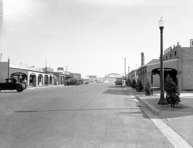 This is Main Street in Boulder City, Nevada, Aug. 24, 1932, the model construction housing center for the workers on the huge Hoover Dam project. This city was constructed at a cost of $2,000,000. ...
