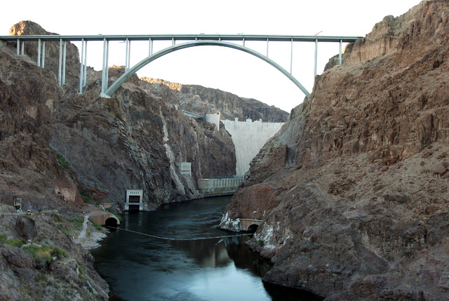 The U.S. Highway 93 Hoover Dam bypass bridge near Hoover Dam is shown on Thursday, August 5, 2010. (John Gurzinski/Las Vegas Review-Journal)