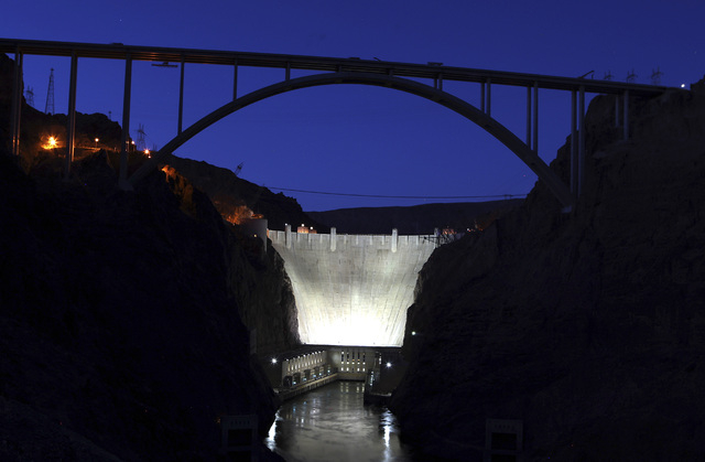The U.S. Highway 93 Hoover Dam bypass bridge near Hoover Dam is shown at dusk on Thursday, August 5, 2010. (John Gurzinski/Las Vegas Review-Journal)