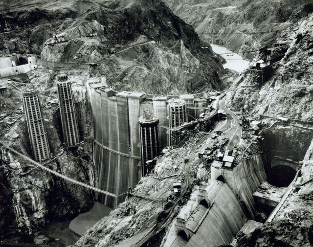 Hoover Dam is shown under construction in this Las Vegas Review-Journal file photo from late 1934 or early 1935. The shot was taken from the west side of Black Canyon above the Nevada spillway. (File)