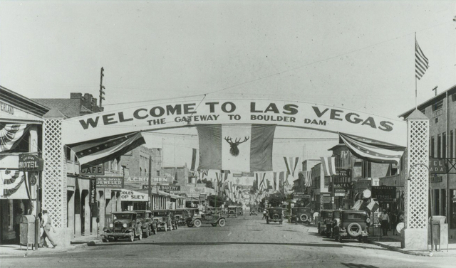 An arch, which was built by Charles Aplin and a couple of friends in about 1935, welcomes visitors to Las Vegas as the Gateway to Boulder Dam. The dam was originally named after President Herbert  ...