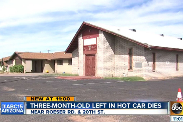 A 3-month-old boy has died a day after being left in a hot car for several hours while his mother and a family friend were in church for a choir practice, police said Monday, Oct. 6, 2014. (Screen ...