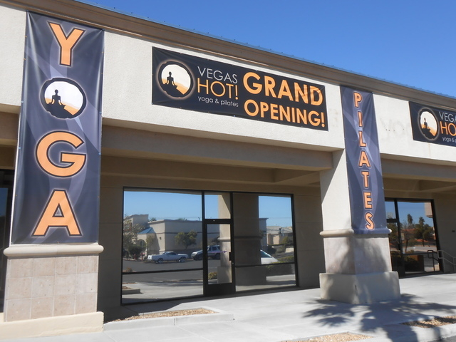 The exterior of Vegas Hot! Yoga & Pilates is seen Sept. 23, 2014. Proponents of the extra-warm, extra-humid facilities say they get a gratifying workout. (Jan Hogan/View)