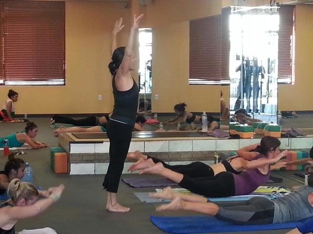Julie Snow leads a hot yoga class Oct. 1, 2014, at Vegas Hot! Yoga & Pilates, 7520 W. Washington Ave., Suite 150. The trend has people working out in rooms of 100 degrees or more, with humidity ab ...