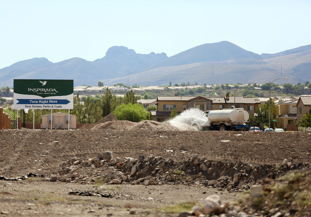 Construction takes place at Inspirada master-planned community Wednesday, July 30, 2014, in Henderson. (Ronda Churchill/Las Vegas Review-Journal)