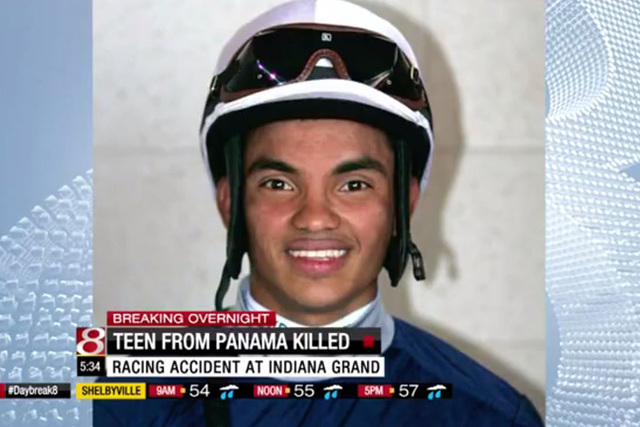 17-year-old apprentice jockey, Juan Saez, died after falling to the track during a race at Indiana Grand racetrack, the Marion County Coroner's Office said Wednesday. (Screengrab/WISHTV)