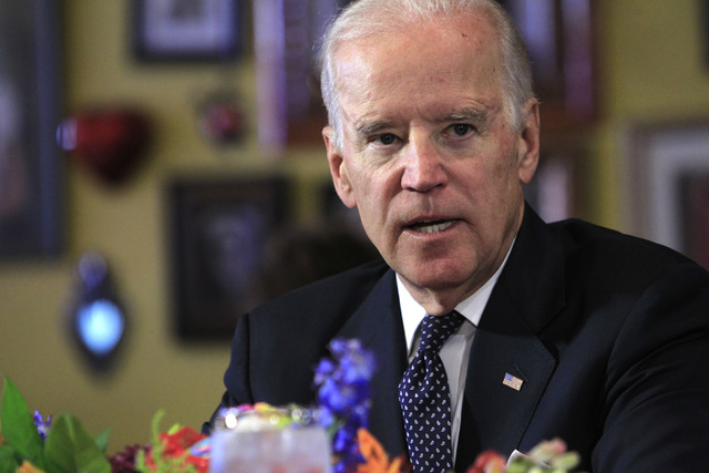 Vice President Joe Biden speaks with politicians and business owners during a round table to discuss a minimum wage increase Monday, Oct. 6, 2014 at Casa Don Juan in downtown Las Vegas. (Sam Morri ...