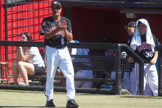 UNLV head coach Tim Chambers claps as the team plays against San Jose State during a game at Earl E. Wilson Stadium in Las Vegas on Saturday, April 12, 2014. UNLV won 2-1. (Chase Stevens/Las Vegas ...