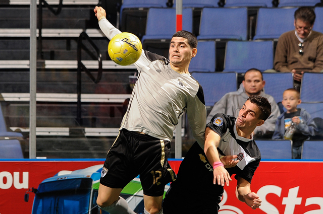Legends forward Felipe Gonzalez, left, is tied for fourth in Professional Arena Soccer League scoring this season with 16 points. Las Vegas leads the PASL in goals with 58. (LEE CALKINS/ONTARIO FURY)