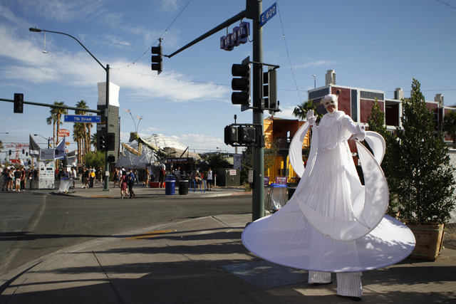 A performer works the crowd during day two of the Life Is Beautiful music and art festival in downtown Las Vegas Saturday, Oct. 25, 2014. (Erik Verduzco/Las Vegas Review-Journal)