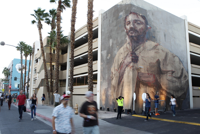 An art mural is seen during day two of the Life Is Beautiful music and art festival in downtown Las Vegas Saturday, Oct. 25, 2014. (Erik Verduzco/Las Vegas Review-Journal)