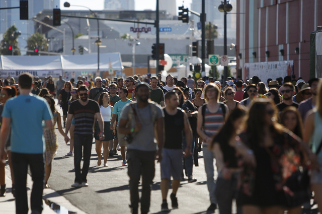 People make their way inside the Life Is Beautiful music and art festival in downtown Las Vegas during day two on Saturday, Oct. 25, 2014. (Erik Verduzco/Las Vegas Review-Journal)