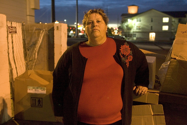 Homeless advocate Linda Lera-Randle El, founder and director of the Straight From the Streets charity, poses behind a business on East Flamingo Road in Las Vegas, Wednesday, Dec. 21, 2005. (K.M. C ...