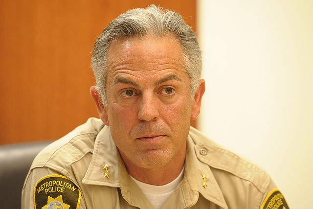 Joe Lombardo, candidate for Clark County sheriff, speaks with the Review-Journal editorial board on Thursday, Sept. 4, 2014. (Mark Damon/Las Vegas Review-Journal)