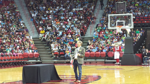 Comedy-Magician Mac King performs magic for local fourth and fifth grade students during a morning of learning and laughter at UNLV's Rebel Reading Challenge Oct. 15, 2014, at the Thomas & Mack, ...