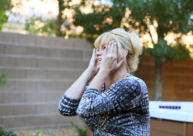 Cindy Huebner is overcome with emotion when expressing her gratitude during a Make-A-Wish reveal event Saturday, Oct. 4, 2014, in Las Vegas. Make-A-Wish Southern Nevada granted a wish for Vinnie,  ...