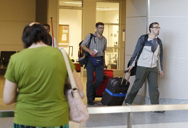 International passengers arrive at International terminal 3, on Friday, Oct. 10, 2014, at McCarran International Airport in Las Vegas. (Bizuayehu Tesfaye/Las Vegas Review-Journal)