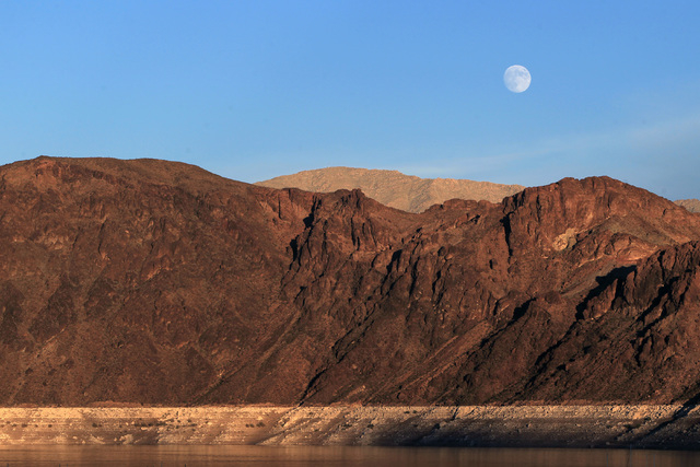 The moon rises above the Hemenway Wall at Lake Mead Monday, Oct. 6, 2014. (Sam Morris/Las Vegas Review-Journal)