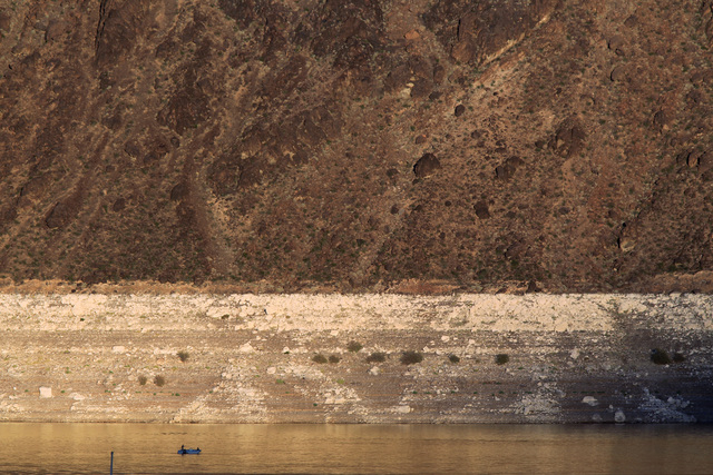 A boat plies the waters of Lake Mead near the Hemenway Wall Monday, Oct. 6, 2014. (Sam Morris/Las Vegas Review-Journal)