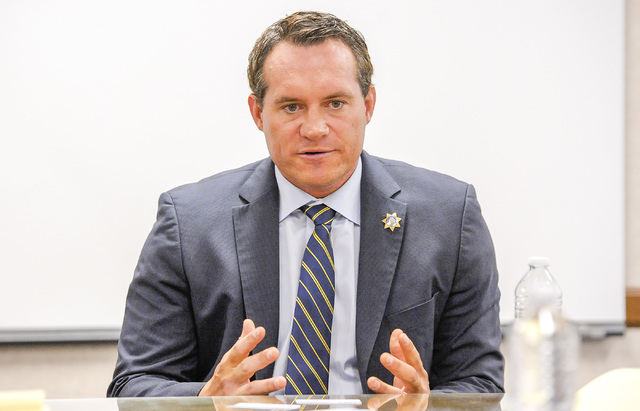 Ross Miller, Democratic candidate for attorney general,  speaks to the Las Vegas Review-Journal editorial board on Tuesday, Oct. 7, 2014.  (Mark Damon/Las Vegas Review-Journal)