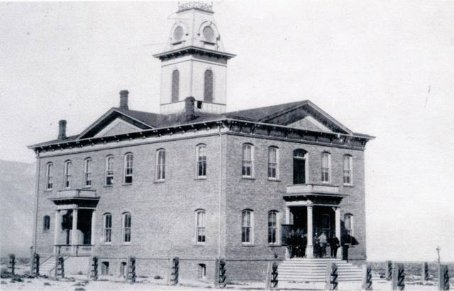 The courthouse in Hawthorne as it looked in 1883, back when it was it was the county seat of Esmeralda County. The seat was moved to Goldfield in 1907, but Hawthorne became a seat once more in 191 ...