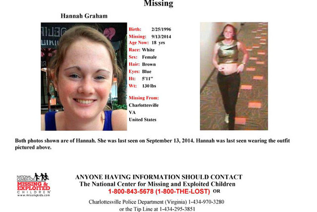 Hannah Graham, 18, a University of Virginia student missing since the weekend, is shown in this missing persons poster released by Charlottesville Police Department in Charlottesville, Virginia, T ...