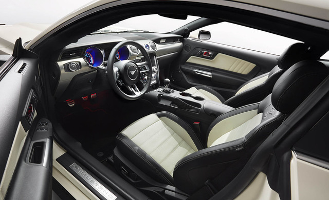 2015 Ford Mustang 50 Year Limited Edition in Wimbledon White, interior showing black leather with contrasting cashmere accents and stitching. (Courtesy)