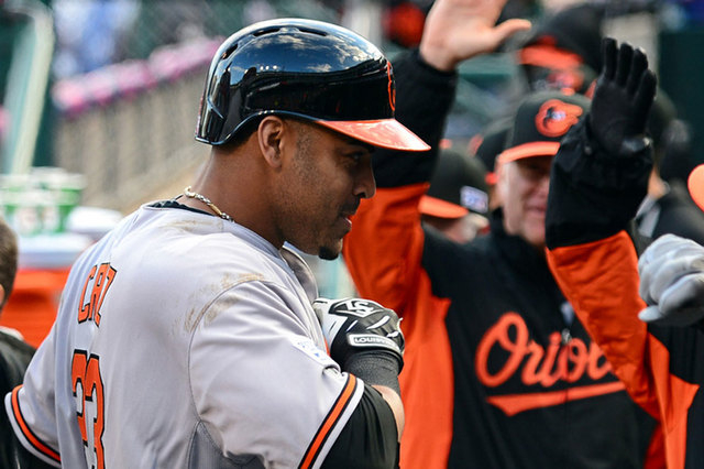 OBaltimore Orioles designated hitter Nelson Cruz (23) celebrates after hitting a two-run home run against the Detroit Tigers during the sixth inning in game three of the 2014 ALDS baseball playoff ...