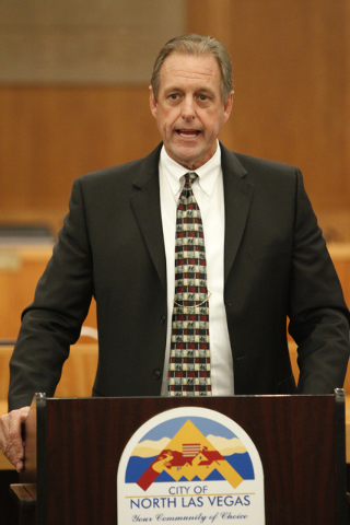 North Las Vegas Mayor John Lee speaks on the Economic Diversification District at Apex project during a press conference at North Las Vegas City Hall Tuesday, Oct. 28, 2014. (Erik Verduzco/Las Veg ...