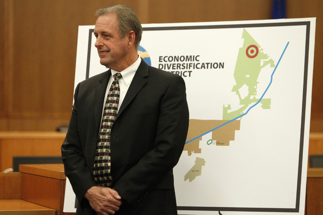 North Las Vegas Mayor John Lee participates during a press conference on the Economic Diversification District at Apex project at North Las Vegas City Hall Tuesday, Oct. 28, 2014. (Erik Verduzco/L ...