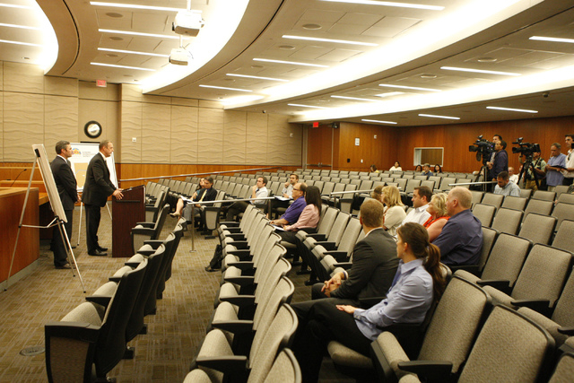 People listen to North Las Vegas officials speak on the Economic Diversification District at Apex project during a press conference at North Las Vegas City Hall Tuesday, Oct. 28, 2014. (Erik Verdu ...