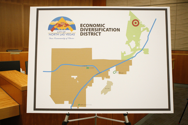A map shows the proposed Economic Diversification District at Apex project during a press conference at North Las Vegas City Hall Tuesday, Oct. 28, 2014. (Erik Verduzco/Las Vegas Review-Journal)