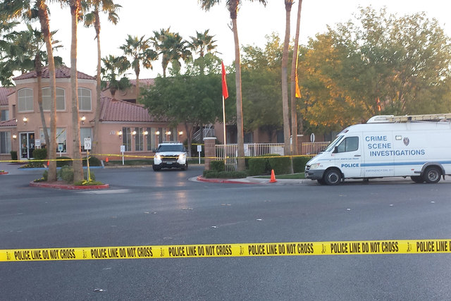 North Las Vegas police are investigating the shooting death of a woman early Thursday morning, Oct. 30, 2014, in the 300 block of Casa Norte Drive. (Colton Lochhead/Las Vegas Review-Journal)