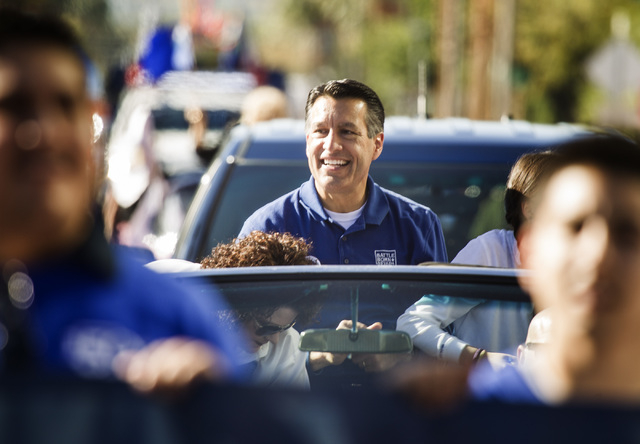 Nevada Governor Brian Standoval during the   Nevada Day Parade on Fourth Street in downtown Las Vegas on Friday, Oct. 31. Thousands lined the street to celebrate Nevada's  Sesquicentennial. (Jeff  ...
